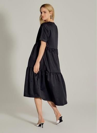 NGSTYLE V Yaka Poplin Elbise Siyah